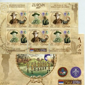 SERBIA 2007 EUROPA SCOUTS BADEN POWELL COMPLETE UNEXPLODED BOOKLET MINT NH