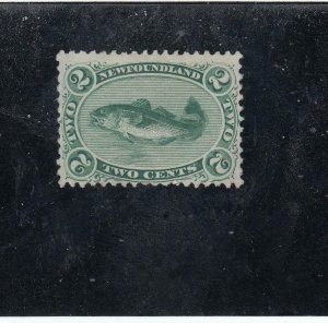 NEWFOUNDLAND  # 24a  FVF-MNG  2cts  1870 CODFISH / GREEN CAT VALUE $200