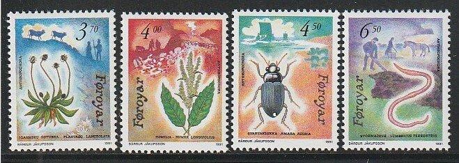1991 Faroe Islands - Sc 216-9 - MNH VF - 4 single - Flora and Fauna