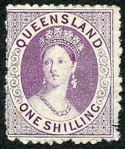 Queensland 1874 1/- Proof in Purple No wmk Perf 13 SCARCE (with gum)