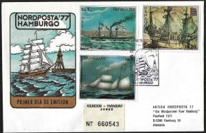 1977 Paraguay Sailing Ships registered FDC to Germany! LOOK!