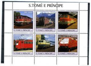 Sao Tome & Principe 2003 TRAINS & LOCOMOTIVES Sheet (6) Perforated Mint (NH)
