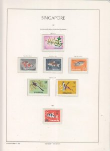 SINGAPORE, 1966 definitive new watermark set of 6, mnh.