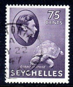 SEYCHELLES-- 1941- sg145ab  -  75 cents  - ordinary  - used -  £11.00