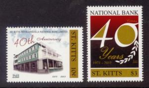 St. Kitts Sc# 803-4 MNH 40th Anniversary National Bank