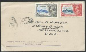 BERMUDA 1935 Jubilee 1d & 1½d on FDC with official handstamp...............53070