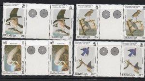 Bermuda Sc 465-68 1985 Audubon stamp set gutter pair mint NH