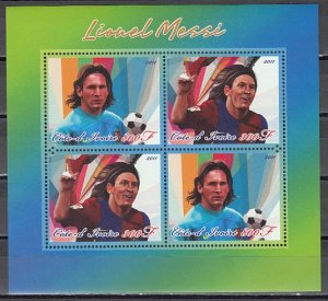 Ivory Coast. 2011 Cinderella issue. Soccer Player sheet of 4.