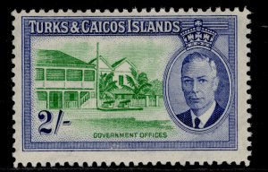 TURKS & CAICOS ISLANDS GVI SG231, 2s emerald & ultramarine, NH MINT.