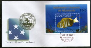 Micronesia 2001 Under Water Fishes Marine Life Animals Sc 448 M/s on FDC # 16574