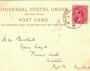 INDIA Card Calcutta GB *WELSH 6* TRIANGULAR Inspectors Mark TPO 1902 35b.9