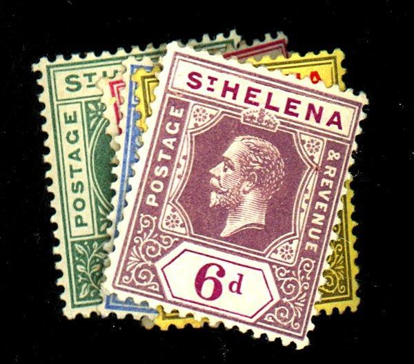 St Helena #48-9, 56-8 MINT F-VF OG HR Cat$29
