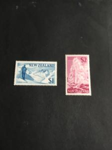 New Zealand Scott 2015 #402-403 Mint  Very LH VF 1967 $1.Glacier&Skier $2Geyser