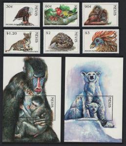Nevis Birds Orang-Utan Tiger Endangered Species 6v+2 MSs SG#1178=MS1193