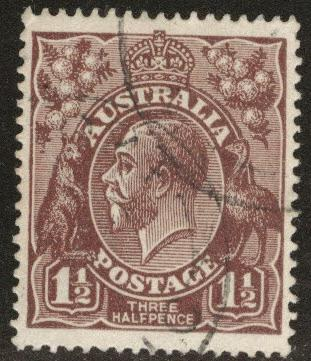 AUSTRALIA Scott 24 used 1918 chocolate color