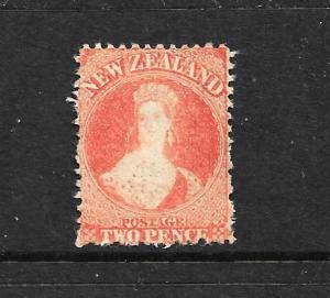 NEW ZEALAND 1873  2d  VERMILLION   FFQ  MNG  P12 1/2 NO WMK CP A2T SG 138 CHALON