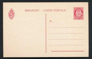 NORWAY Mi. P55 POSTAL STATIONERY POSTAL CARD 10o CARMINE