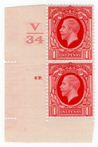(I.B-CK) George V Postal : 1d Red with Control (SG 440)
