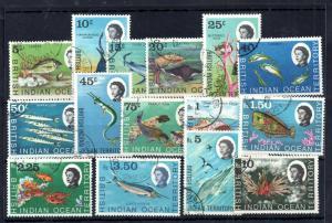 British Indian Ocean 1968 Marine Life fine used set #16-30 WS13889