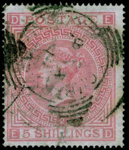 SG127, 5s pale rose plate 2, USED. Cat £1500. ED