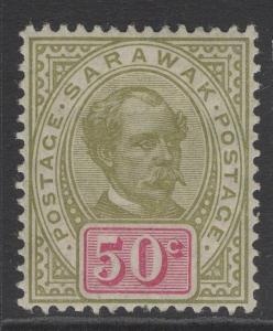 SARAWAK SG46 1899 50c SAGE-GREEN & CARMINE MTD MINT