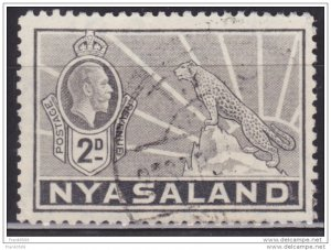 Nyasaland 1934, George V and Leopard, 2p, sc#41, used