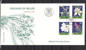 Belize, Scott cat. 1103-1106. Christmas issue with Orchids. First day cover. ^