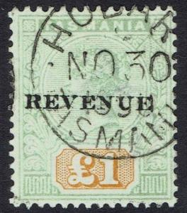 TASMANIA 1900 REVENUE OVERPRINTED QV 1 POUND POSTALLY USED