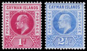 Cayman Islands Scott 4-5 (1901-03) Mint H F-VF, CV $24.00 M