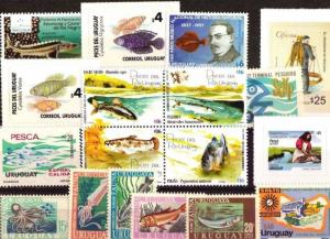 DISCOVER URUGUAY ! SELECTED 18 fish native marine fauna STAMPS MNH