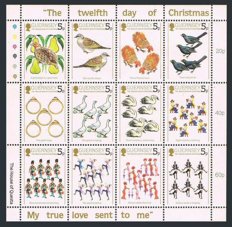 Guernsey 307a sheet,MNH.Michel 298-309. The Twelfth Day of Christmas,1984.Birds.