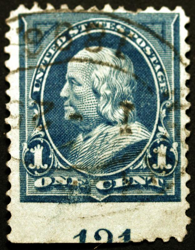 #247 1c Blue 1894 Plate # 121 Used with Perf Error