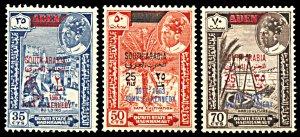 Quaiti State Michel 68-70, MNH, John F. Kennedy Overprints