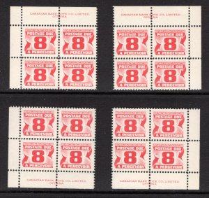 J34i, Scott, 8c, DF, DEX, MNHOG, matched plate block of 4,2nd Centennial