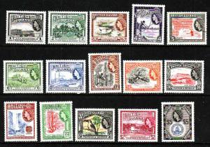 British Guiana-Sc#253-67-unused light hinge QEII definitive set-1954-