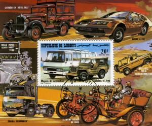 Bus & Jeep Souvenir Sheet Perforated Fine Used