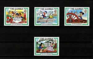 GAMBIA - 1985 - DISNEY - TWAIN - MICKEY - LIFE ON THE MISSISSIPPI - MINT NH SET!