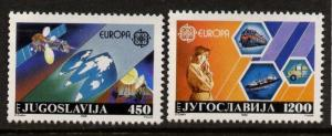 Yugoslavia 1892-3 MNH EUROPA, Telecommunications, Satellite, Transportation