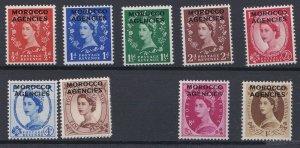 MOROCCO AGENCIES 1952 - 55  SG 101-110  PART SET TO 1/- MNH