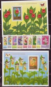 Mongolia MNH 2-S/S & 9 Stamps 2269-79 Orchids