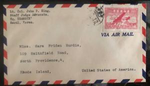 1948 Seoul Korea Airmail Cover Providence RI USA Sc#C1