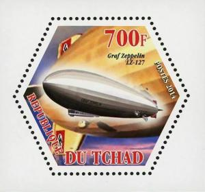 Chad Dirigibles  Graf Zeppelin LZ-127 Airship Mini Souvenir Sheet Mint NH
