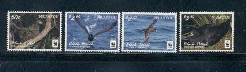 Niuaf'ou Tonga MNH 339-42 Black Petrel Birds WWF 2016