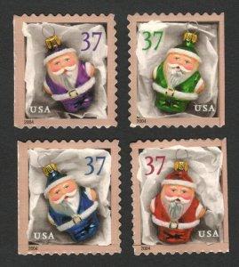 3887-90 Santa Ornaments Set Of 4 Mint/nh Free Shipping (A-118)