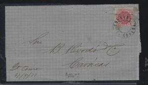 VENEZUELA   (PP2604B)   1877 EARLY, OVPT STAMP ON COVER TO CARACAS