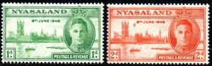 1946 Nyasaland Sg 158/159 Victory Issue Mounted Mint