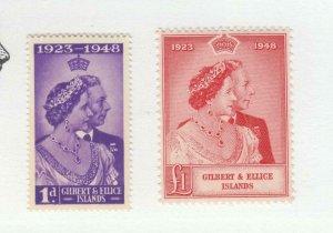 GILBERT AND ELLIS # 54-55 VF-MNH KGV1 SILVER WEDDING 1948