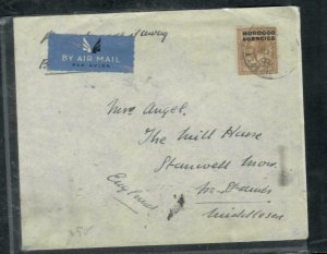 MOROCCO COVER (PP2912B) 1935  KGV  1/- A/M COVER VIA FRANCE TO ENGLAND