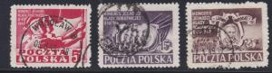 Poland # 445-447, Congress of the Working Class, Used