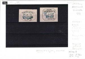 GB WW1 PROPAGANDA LABELS{2} EARLY *TANK* Cinderellas Lightly Mounted 1916 38c.19